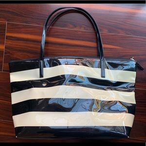 Kate Spade striped patent leather tote